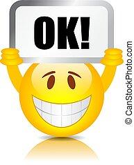 emoticon, señal, feliz, aprobar