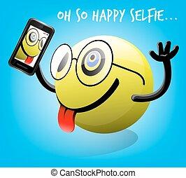 emoticon, selfie, oh, ainsi, heureux