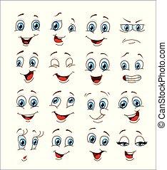 emoticon, set., イラスト, 顔, ベクトル, 表現, 漫画