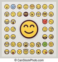 emoticon, set, collection., isolato, fondo., vettore, vector., sorriso, bianco, emoji, icona