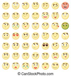 Emoticon set. Collection of Emoji. 3d emoticons. Smiley face icons isolated on white background. Vector