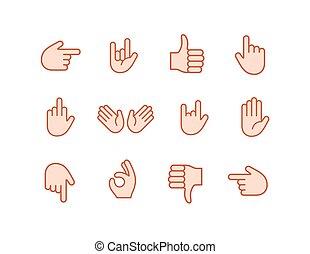 emoticon, set, colorare, adesivo, mano, emoji