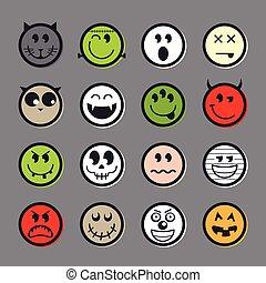 emoticon, set, halloween, collezione, vettore, icona
