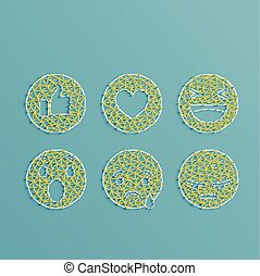 Emoticon set made by stings and pins, vector illustration