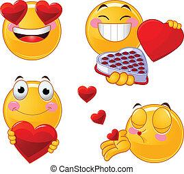 emoticon, set, smileys, valentines