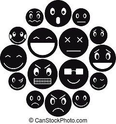 emoticon, set, stile, icone semplici