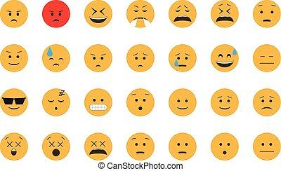 emoticon, set, vector.