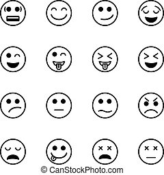 emoticon, set, vettore