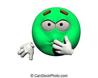 emoticon sick - 3d render - emoticon sick green and white