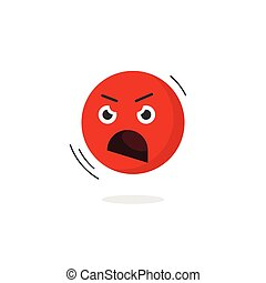 emoticon, sinnesrörelse, ilsket, nekande, ansikte, skrikande, vektor, ikon, isolerat, emoji