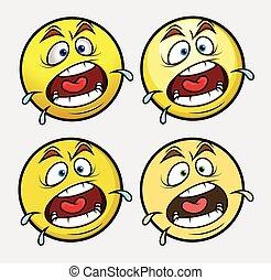 emoticon, skrikande, smiley, emoji
