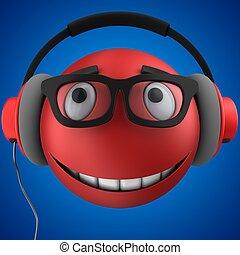 emoticon, smile, rød, 3