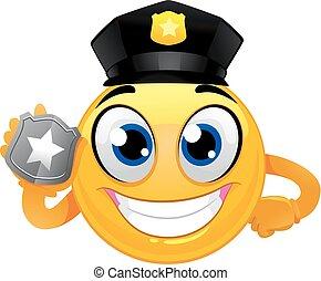 emoticon, smiley, emblema, segurando, policial