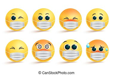 Emoticon smiley face mask vector set. Smiley emoji or icon coronavirus covid-19 in surgical mask with different facial expression for covid19 corona-virus protection disease.