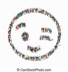 emoticon, smiley, gente, icono