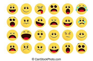 Emoticon smiley icon vector set. Smileys emoji and flat emoticon in different facial expression like sad, surprise, sleepy and crying isolated.