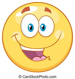 emoticon, smiley, jaune, heureux