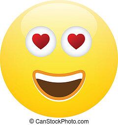 emoticon, smiley, liefde, gezicht