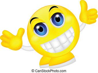 emoticon, smiley, pouce haut