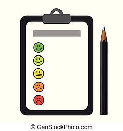 emoticon smiley rating icons on a clipboard with dark pen