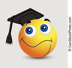 emoticon, smiley, -, remise de diplomes, emoji
