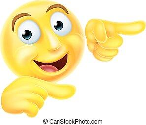 emoticon, smiley, señalar, emoji