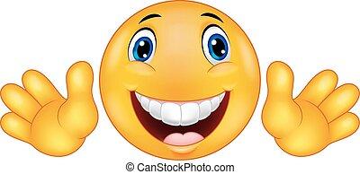 emoticon, smiley, spotprent, vrolijke