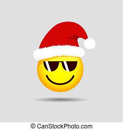 emoticon, smiley, sunglasses, claus, święty, chłodny, emoji