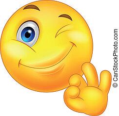 emoticon, smiley, tá bom sinal