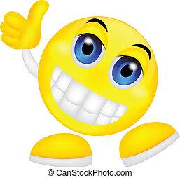 emoticon, smiley, tumme uppe