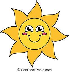 emoticon, sol, ruborizando, esboço, ilustração