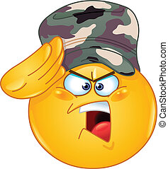 emoticon, soldat, saluer
