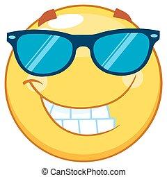 emoticon, sonnenbrille, gelber