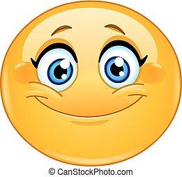 emoticon, sonriente, hembra