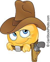 emoticon, sorridente, cowboy