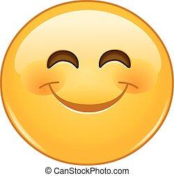 emoticon, sorrindo, olhos