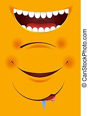 emoticon, sorrisos, jogo, ícones, amarela, vetorial, boca, construtor, sorrizo, caricatura, emoji