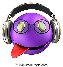 emoticon, sourire, 3d, violet
