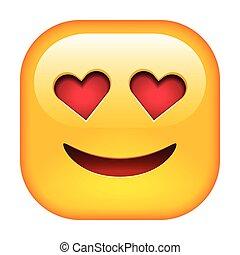 emoticon, sourire, amour