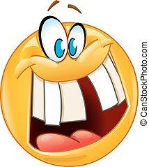emoticon, sourire, fou