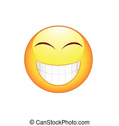 emoticon, sourire, grandes dents