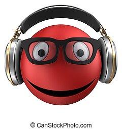 emoticon, sourire, rouges, 3d