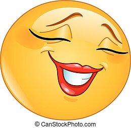 emoticon, sourire, timidement, femme