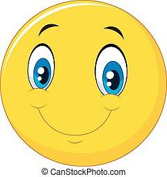 emoticon, sourire, visage heureux