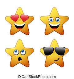 emoticon, ster, karakters, gele