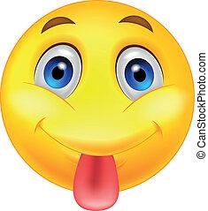 emoticon, stickande, hans, smiley, ute