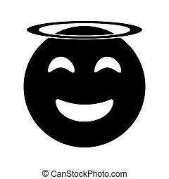 emoticon, stil, ängel, pictogram