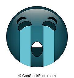 emoticon, stil, grät, ikon