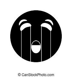 emoticon, stil, grät, pictogram