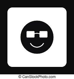emoticon, stil, sonnenbrille, einfache , ikone, lächeln